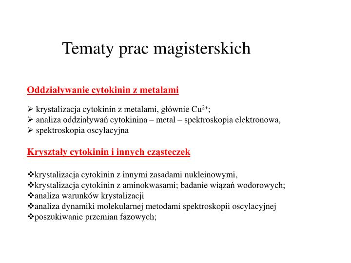 Tematy prac magisterskich