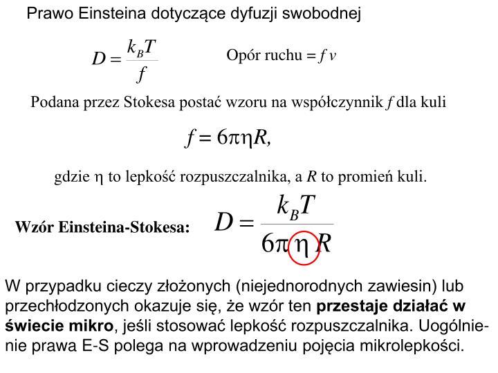 Prawo Einsteina dotyczące dyfuzji swobodnej