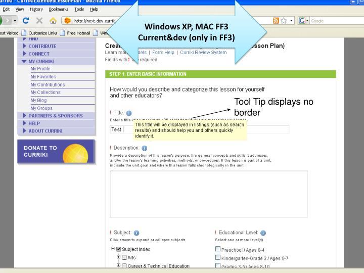 Windows XP, MAC FF3