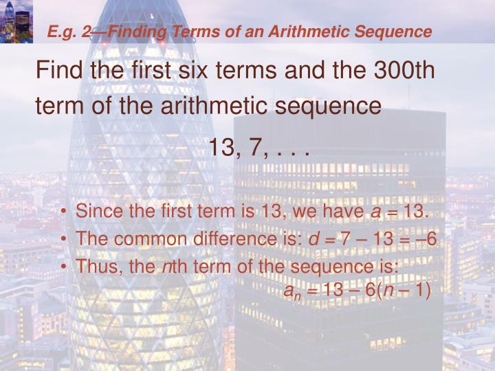 E.g. 2—Finding Terms of an Arithmetic Sequence