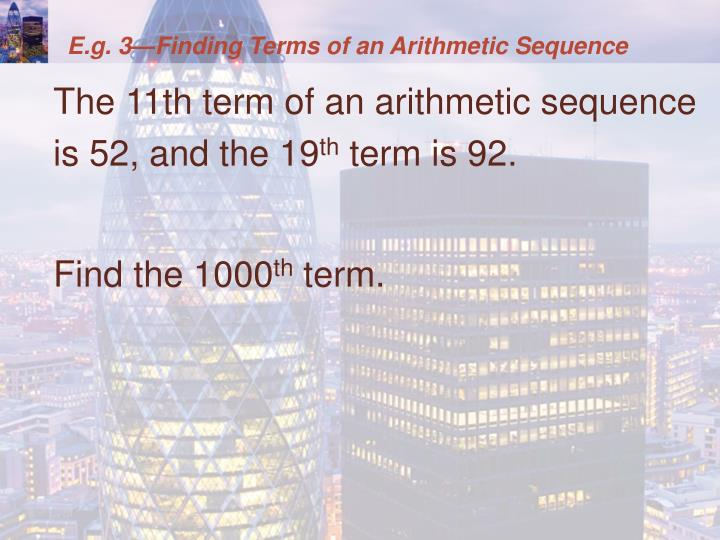 E.g. 3—Finding Terms of an Arithmetic Sequence