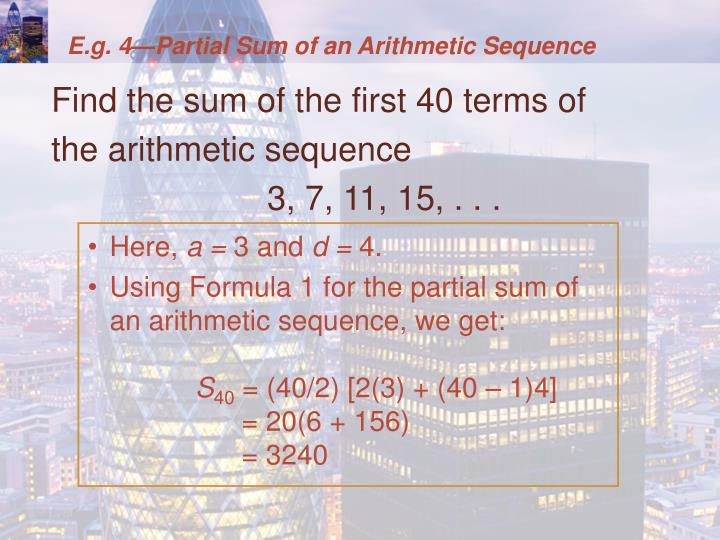 E.g. 4—Partial Sum of an Arithmetic Sequence
