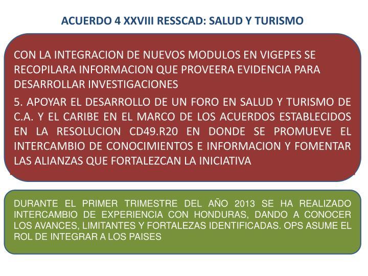 ACUERDO 4 XXVIII RESSCAD: SALUD Y TURISMO