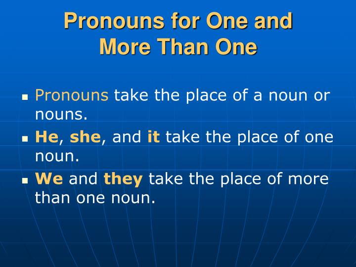 Pronouns for One and
