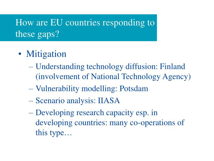 How are EU countries responding to these gaps?