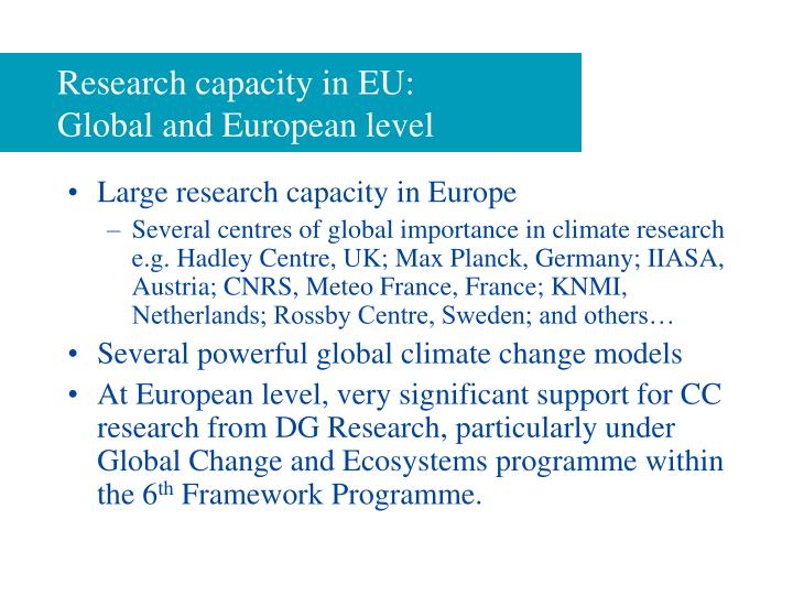 Research capacity in eu global and european level