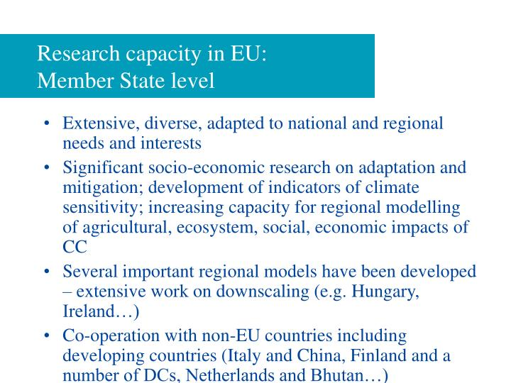 Research capacity in eu member state level