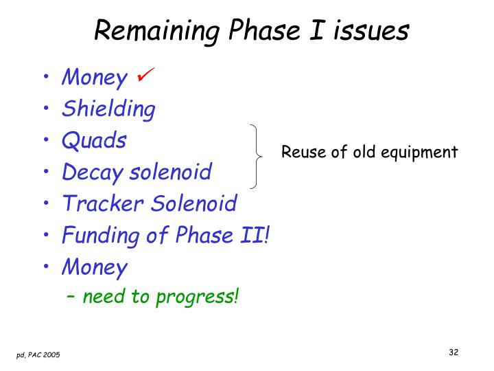 Remaining Phase I issues