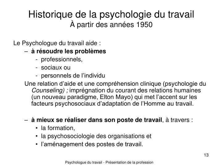 Historique de la psychologie du travail