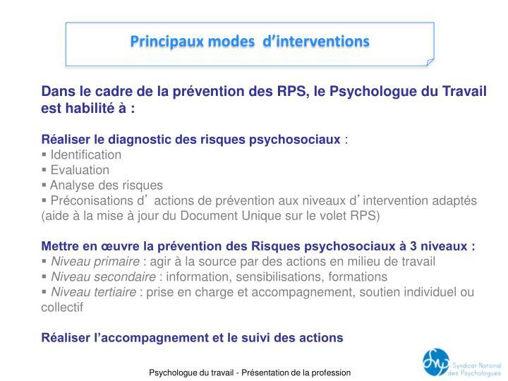 Principaux modes  d'interventions