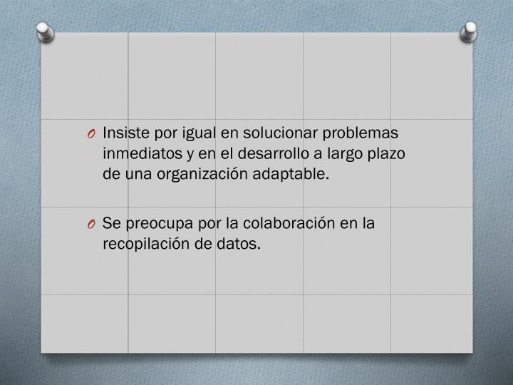 Insiste por igual en solucionar problemas inmediatos y en el desarrollo a largo plazo de una organización adaptable