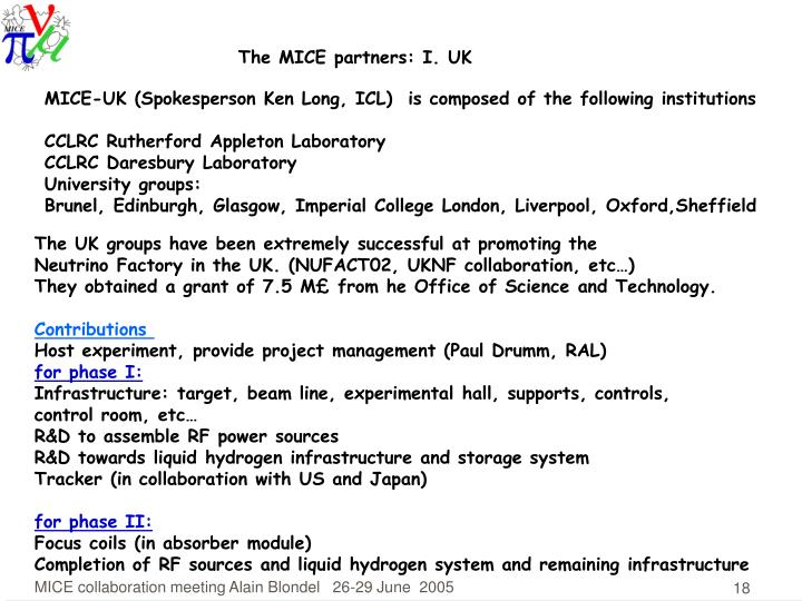 The MICE partners: I. UK