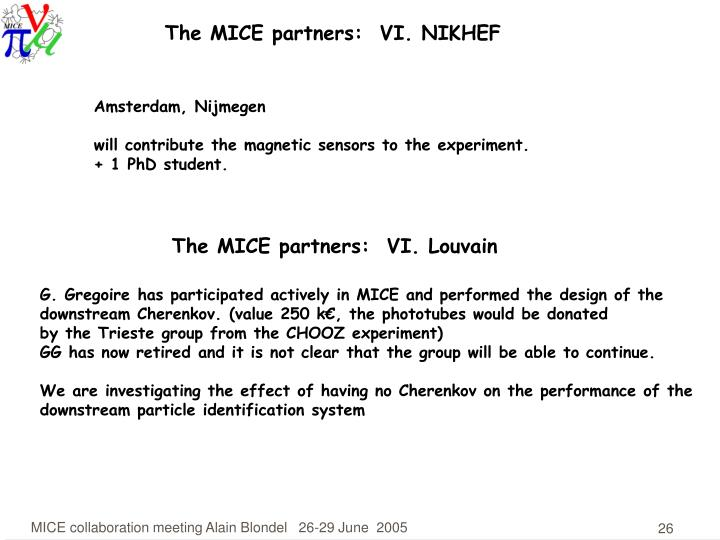 The MICE partners:  VI. NIKHEF
