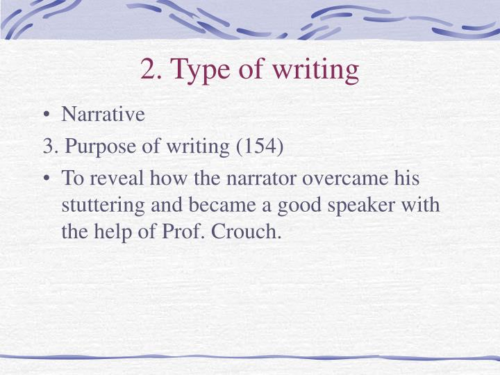 2. Type of writing