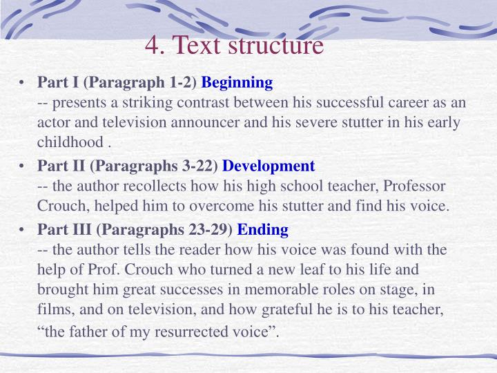 4. Text structure