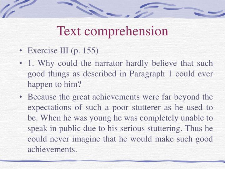 Text comprehension