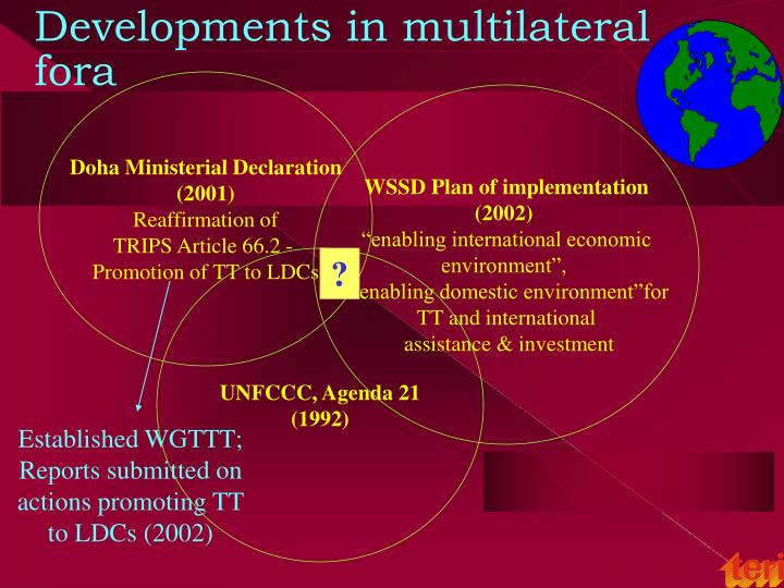 Developments in multilateral fora