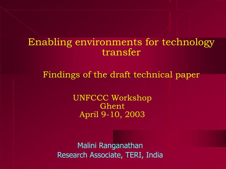 Enabling environments for technology transfer findings of the draft technical paper