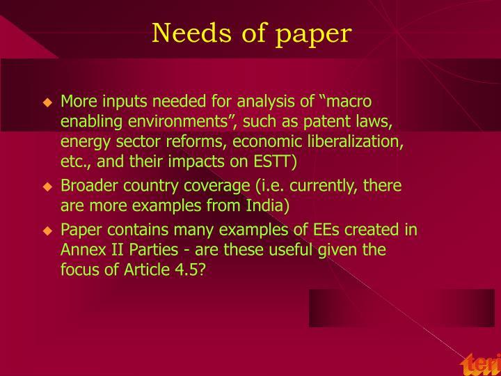 Needs of paper