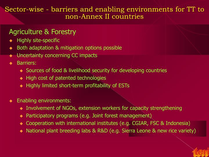 Sector-wise - barriers and enabling environments for TT to non-Annex II countries
