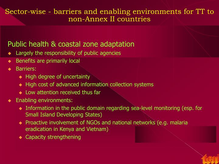 Commonly cited barriers and enabling environments in non-Annex II countries