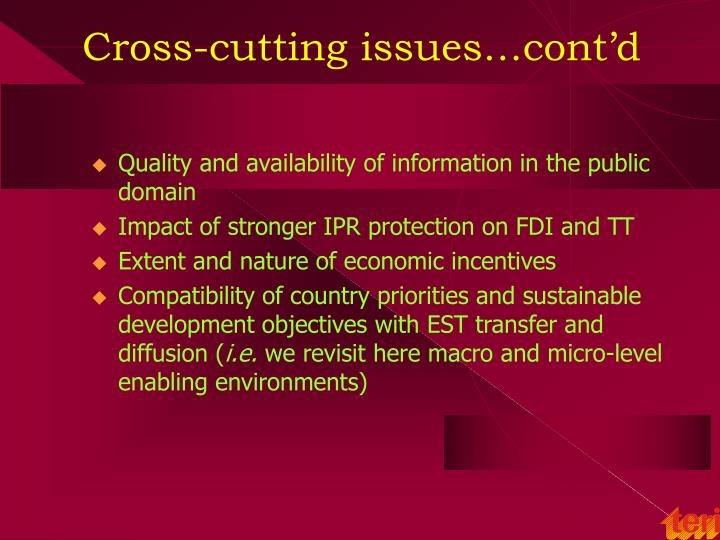 Cross-cutting issues…cont'd