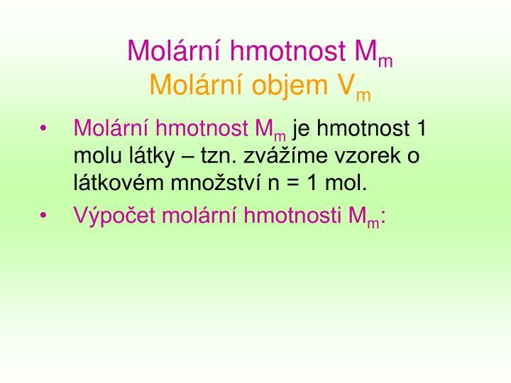 Molární hmotnost M