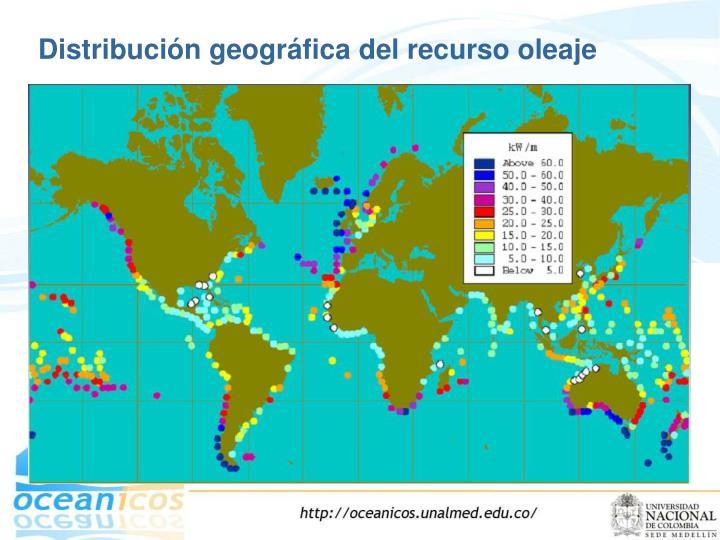 Distribución geográfica del recurso oleaje