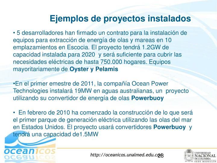 Ejemplos de proyectos instalados