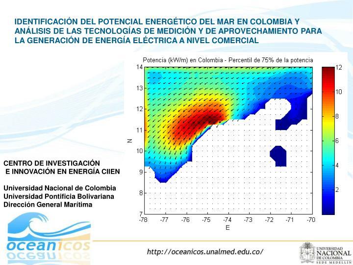 IDENTIFICACIÓN DEL POTENCIAL ENERGÉTICO DEL MAR EN COLOMBIA Y ANÁLISIS DE LAS TECNOLOGÍAS DE MEDICIÓN Y DE APROVECHAMIENTO PARA LA GENERACIÓN DE ENERGÍA ELÉCTRICA A NIVEL COMERCIAL