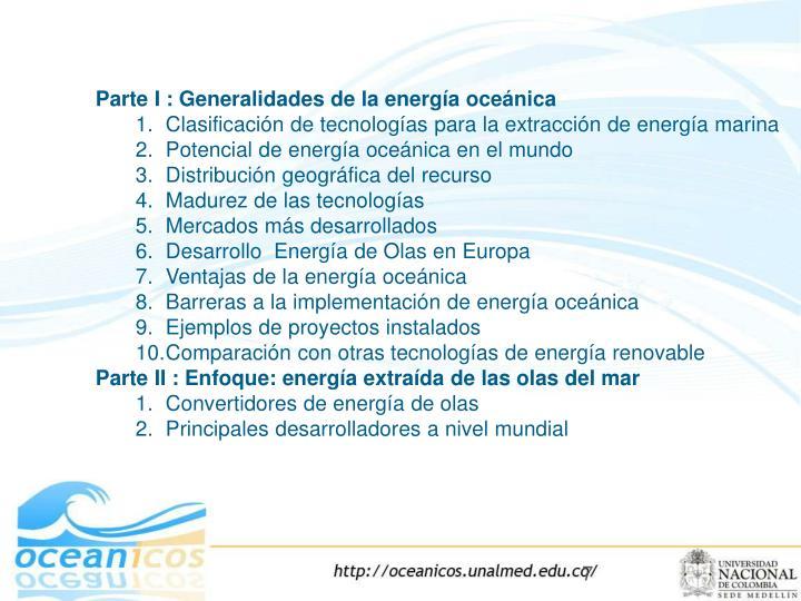 Parte I : Generalidades de la energía oceánica