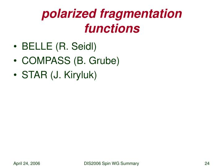 polarized fragmentation functions