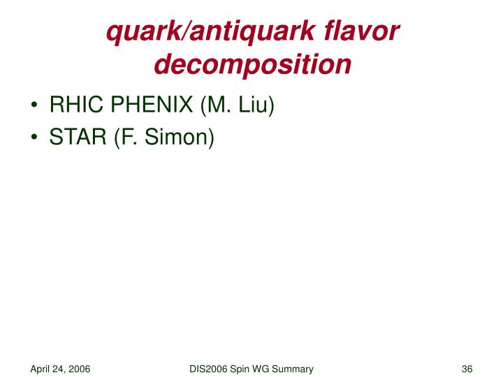 quark/antiquark flavor decomposition