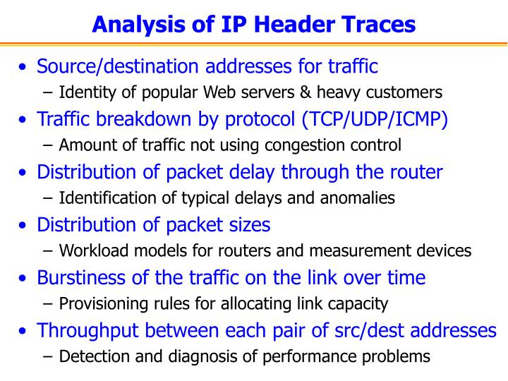 Analysis of IP Header Traces