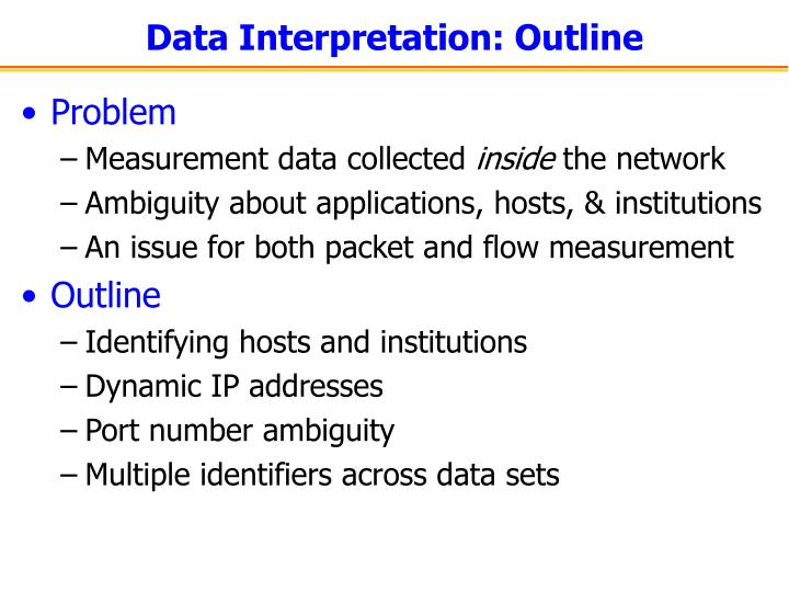 Data Interpretation: Outline
