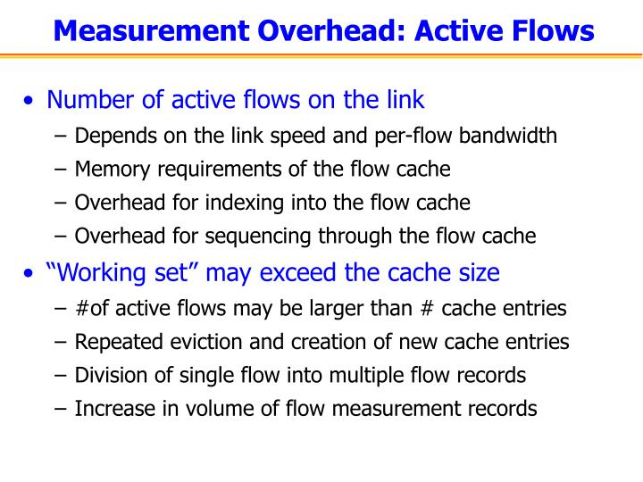 Measurement Overhead: Active Flows