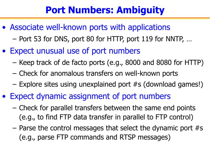 Port Numbers: Ambiguity