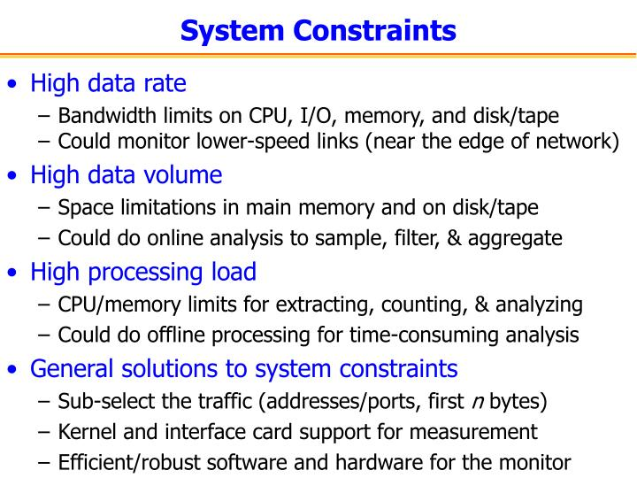 System Constraints
