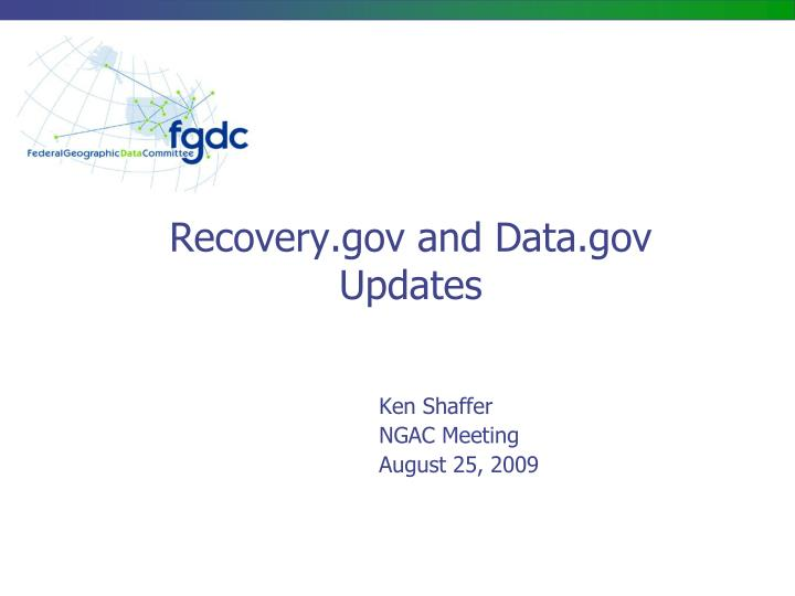 Recovery gov and data gov updates
