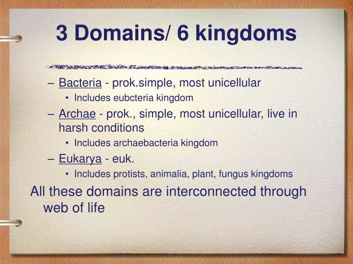 3 Domains/ 6 kingdoms