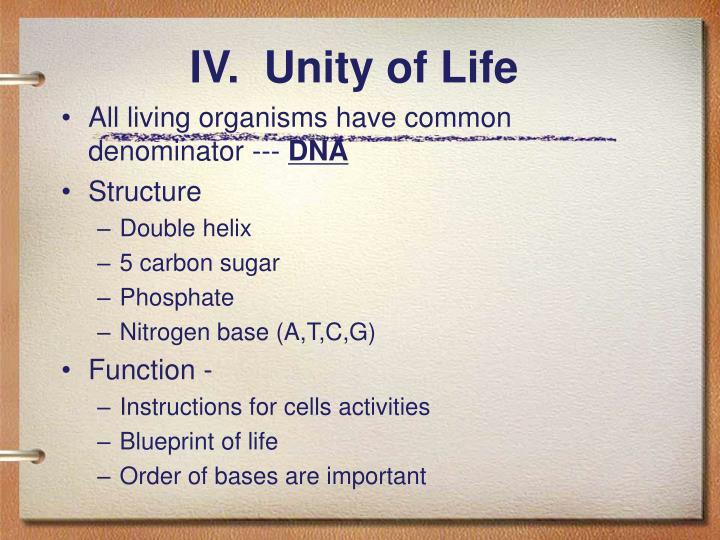 IV.  Unity of Life