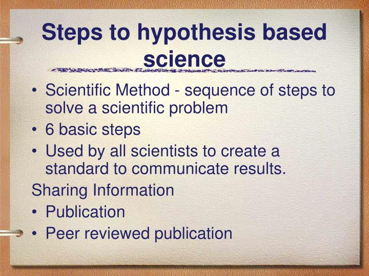 Steps to hypothesis based science