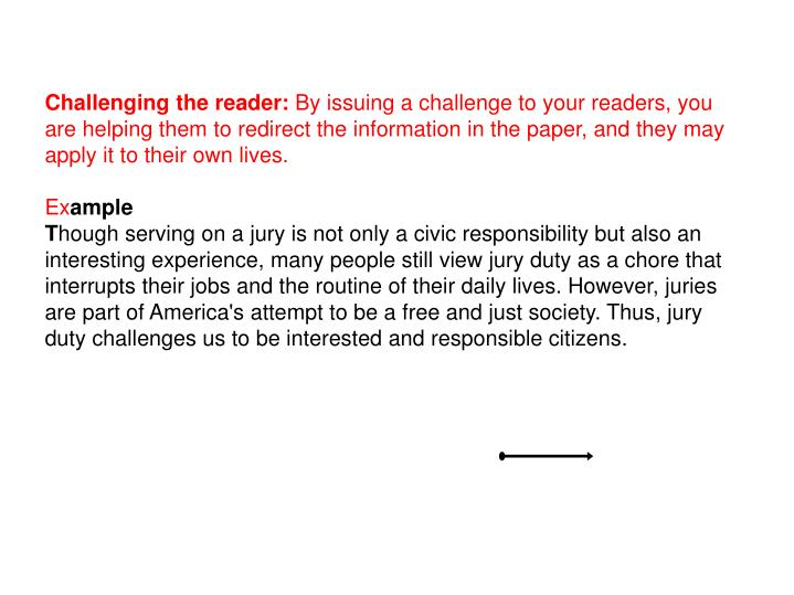 Challenging the reader:
