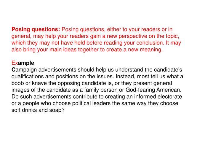 Posing questions: