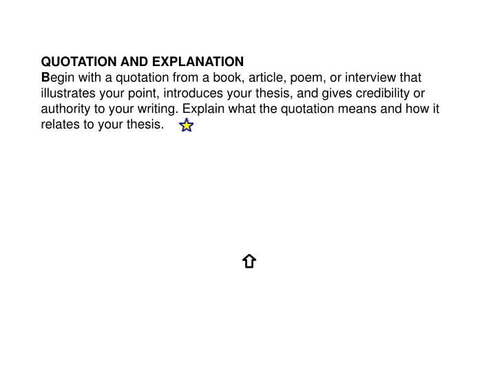 QUOTATION AND EXPLANATION
