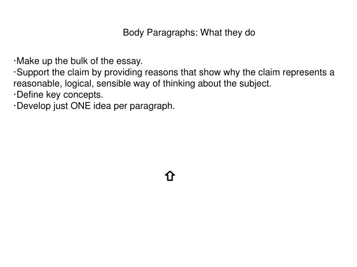 Body Paragraphs: What they do
