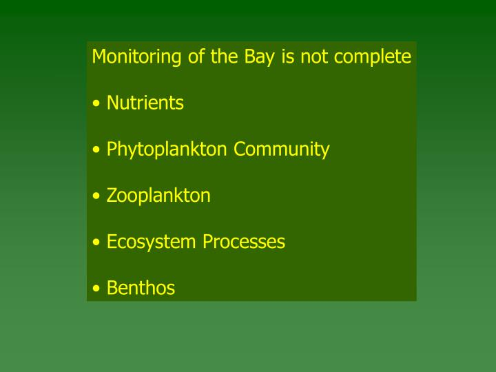 Monitoring of the Bay is not complete