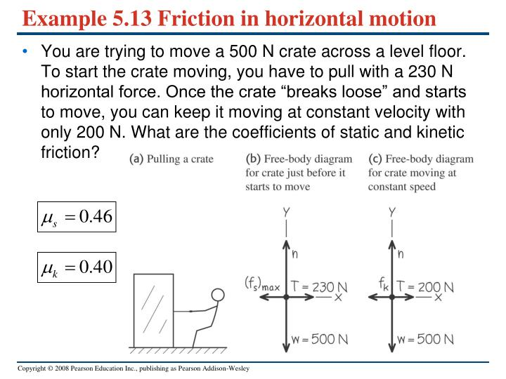 Example 5.13 Friction in horizontal motion
