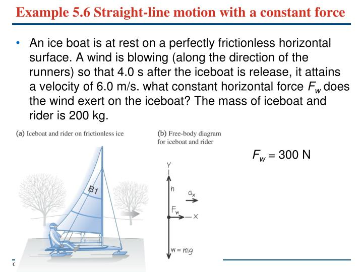Example 5.6 Straight-line motion with a constant force