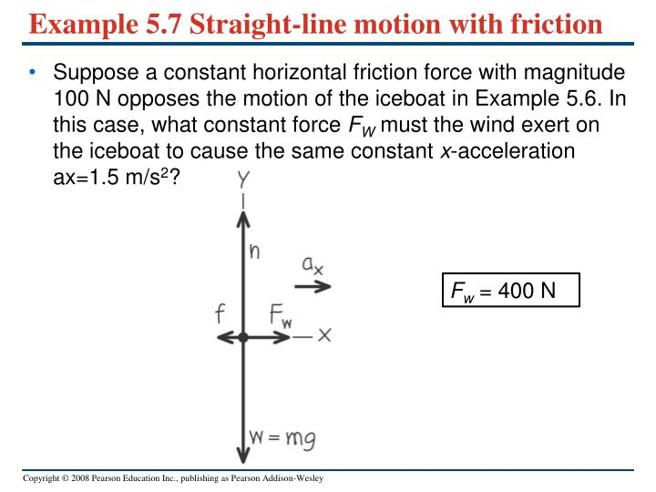 Example 5.7 Straight-line motion with friction